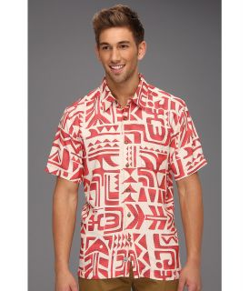 Quiksilver Waterman Tama Reef Shirt Mens Short Sleeve Button Up (Red)