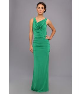 BCBGMAXAZRIA Nicole Draped Neck Gown Womens Dress (Green)
