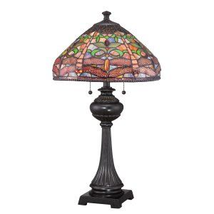 Quoizel TF1571TIB Tiffany Pink Dragonfly Tiffany Table Lamp