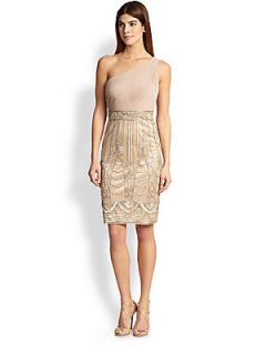Sue Wong Asymmetrical Ruched & Beaded Dress   Beige