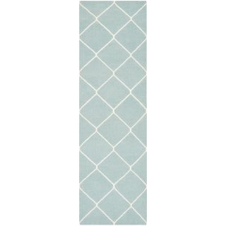 Safavieh Hand woven Moroccan Dhurries Light Blue/ Ivory Wool Rug (26 X 8)
