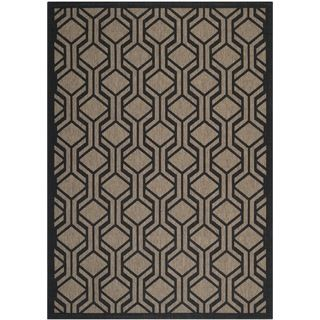 Safavieh Indoor/ Outdoor Courtyard Brown/ Black Rug (53 X 77)
