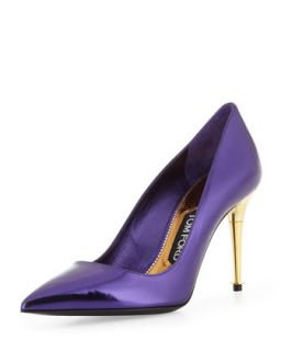 Womens Low Heel Pointed Toe Metallic Pump, Purple   Tom Ford