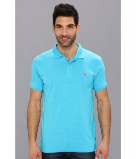 U.S. Polo Assn Solid Slub Polo Mens Short Sleeve Knit (Blue)