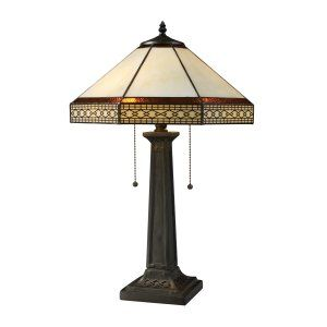 Dimond Lighting DMD D1858 Stone Filigree 2 Light Table Lamp with Tiffany Glass S