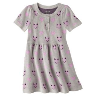 Infant Toddler Girls Short Sleeve Knit Fox Dress   Grey 12 M
