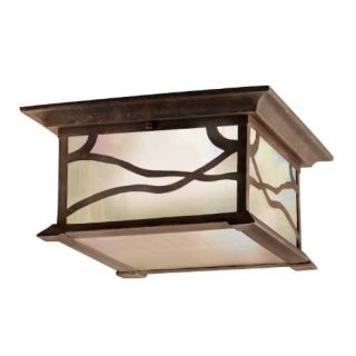 Kichler 9838DCO Outdoor Light, Arts and Crafts/Mission Flush Mount 2 Light Fixture Distressed Copper