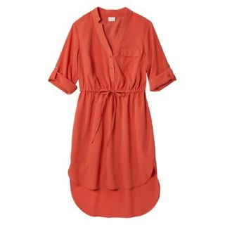 Merona Womens Drawstring Shirt Dress   Orange   L
