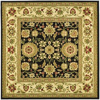 Lyndhurst Collection Majestic Black/ Ivory Rug (8 Square)