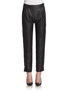 Elodie Croc Embossed Faux Leather Pants   Noir