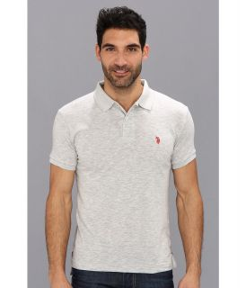 U.S. Polo Assn Solid Slub Polo Mens Short Sleeve Knit (Gray)