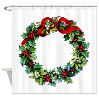 Holly Christmas Wreath Shower Curtain  Use code FREECART at Checkout