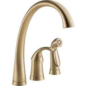 Delta Faucet 4380 CZ DST Pilar Single Handle Kitchen Faucet with Side Spray