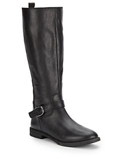 Ronan Black Leather Knee High Boots   Black