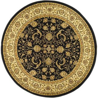 Lyndhurst Collection Black/ Ivory Rug (53 Round)