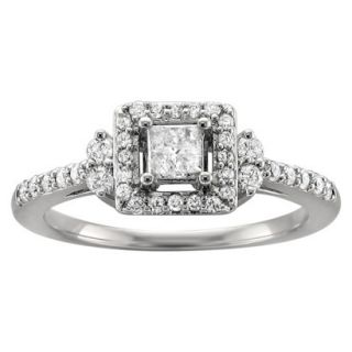 1/2 CT. T.W. Princess Cut Diamond Halo Prong Set Ring in 14K White Gold (H I,