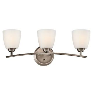 Kichler 45360BPT Bathroom Light, Transitional Bath 3Light Fixture Brushed Pewter