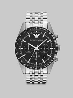 Emporio Armani Brushed Stainless Steel Chronograph Watch   No Color