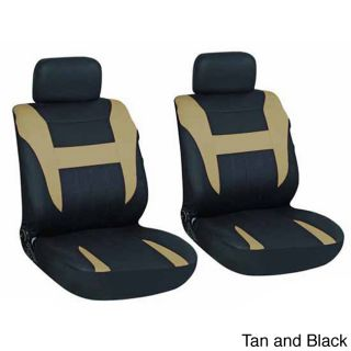 Oxgord 4 piece Two toned Cloth Seat Cover Set For Two Automotive Front Chairs