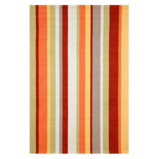 Trans Ocean Import Co Newport Vertical Stripe Indoor / Outdoor Rugs Orange