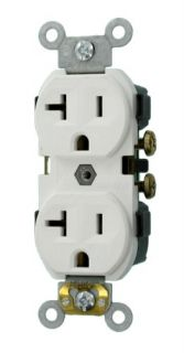 Leviton CR20W Electrical Outlet, Duplex Receptacle, 20A Commercial Grade with Self Grounding Clip White