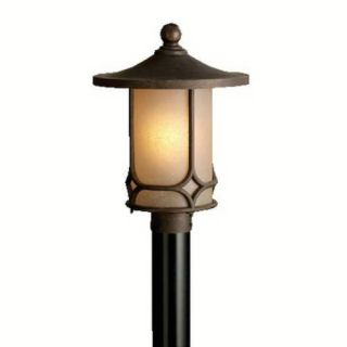 Kichler 9975AGZ Outdoor Light, Arts and Crafts/Mission Post Mount 1 Light Fixture Aged Bronze