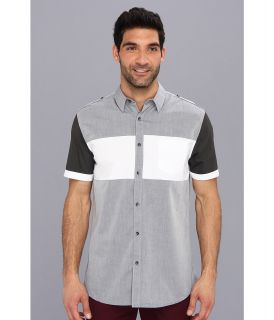 DKNY Jeans S/S Color Block Slim Fit Shirt City Press Mens Short Sleeve Button Up (Gray)