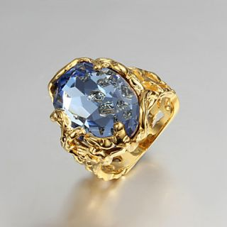 High Quality Vintage Gold Plated Blue Cubic Zirconia Oval Irregular Pierced Womens Ring