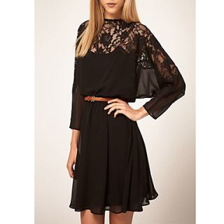 Zoey Womens Boat Neck Lace Black Dress