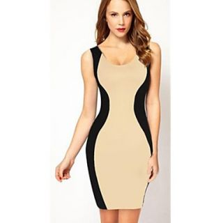Womens Sexy Backless Sleeveless Contrast Color Long Dress