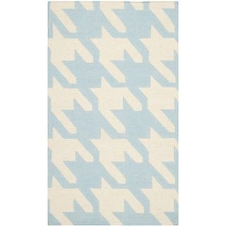 Safavieh Hand woven Moroccan Dhurries Light Blue/ Ivory Wool Rug (4 X 6)