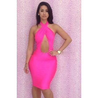 Womens Export Hot Sale Sexy Hang over Neck Bodycon Dress