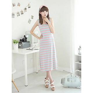 Rxhx Back Cut Out Contrast Color Pink Stripes Leisure Brace Dress