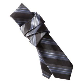 Merona Mens Tie   Black/Blue Stripe
