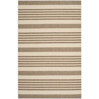 Safavieh Indoor/ Outdoor Courtyard Brown/ Bone Rug (53 X 77)