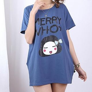 Womens Fashion Loose Cute Bow Girl Print Short Sleeve T Shirt