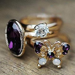 Mysterious Purple Butterfly Retro Flash Diamond Gem Three Piece Ring