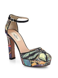 Valentino Butterfly Print Leather Pumps