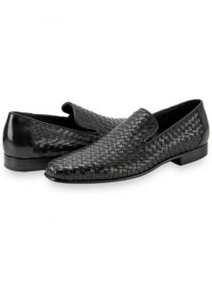 Paul Fredrick Mens Italian Woven Leather Loafer Shoe