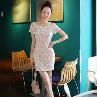 Womens Boat Neck Lace Short Sleeve Dress