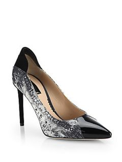 Reed Krakoff Academy Snake Print Leather Pumps   Black White