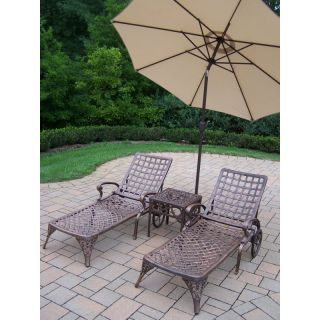 Oakland Living Elite Cast Aluminum Chaise Lounge Chat Set with Tilting Umbrella