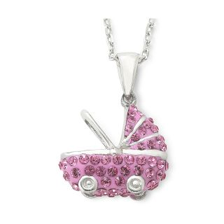 Sterling Silver Pink Crystal Baby Carriage Pendant, Womens