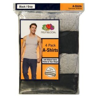 Fruit of the Loom Mens A Shirts 4 Pack   Black/Grey S