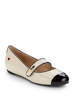 Mary Jane Patent Leather Flats   Black Ivory