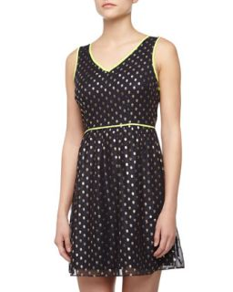 V Neck Polka Dot Dress, Navy