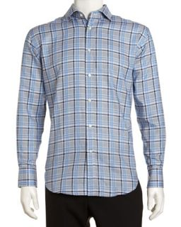 Regular Finish Classic Fit Large Plaid Sport Shirt, Blue