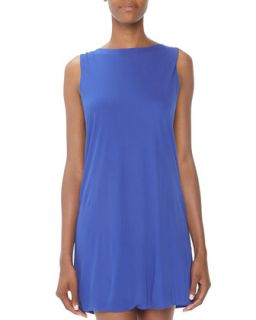 Reversible Stretch Jersey Dress, Cobalt
