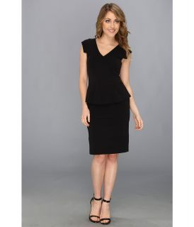 Nicole Miller Mercerized Ponte Peplum Dress Womens Dress (Black)