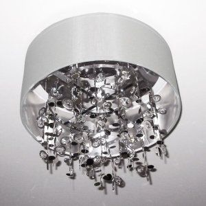 Dainolite DAI PIC164FH PC WH Universal 4 Light Crystal Semi Flush Fixture with W